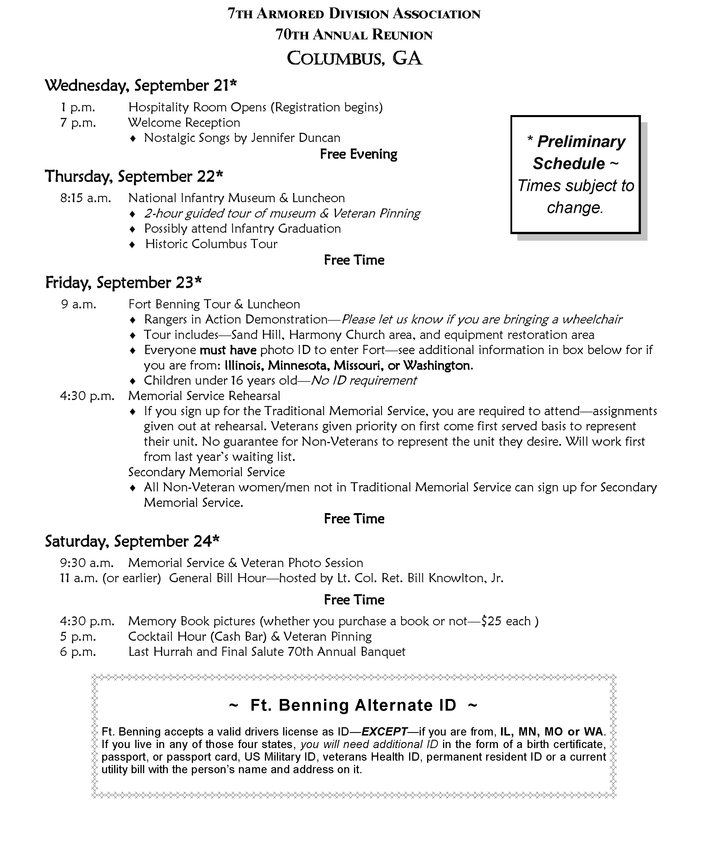Reunion Schedule - Click for full size