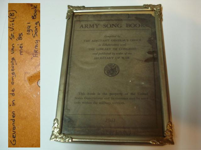 1941 Army Song Book, found May 1985 near St. Vith, Belgium