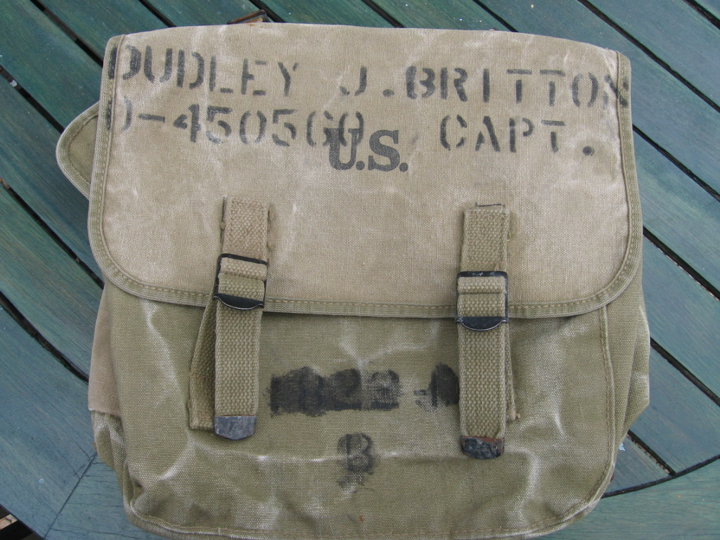B/23 CO Dudley J. Britton's Bag, found in house at Marbou&ecaute;, France