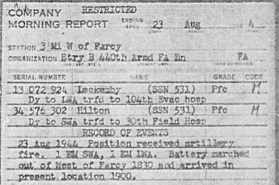 23 Aug 1944 B/440 Morning Report