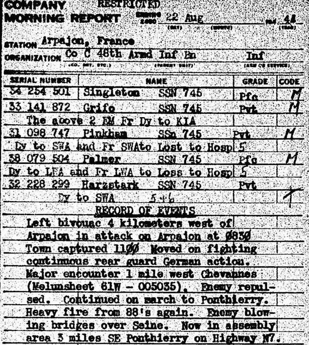22 Aug 1944 C/48 Morning Report