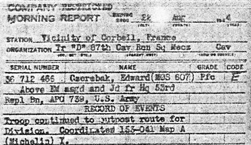 22 Aug 1944 D/87 Morning Report